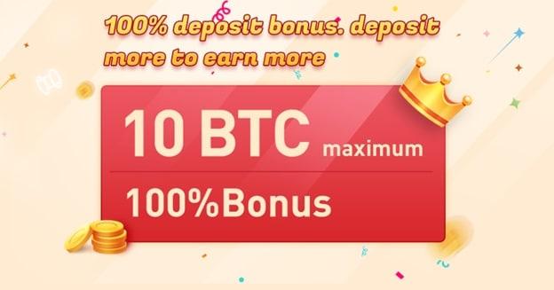 Pancarta promocional del bono de depósito del 100% de Bexplus